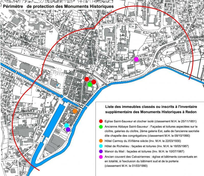 carte des périmètres de protection de monument historique Protection des monuments historiques [La mairie et Vous]